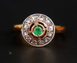 details about antique ring pendant set solid 14k gold emeralds green diamonds us 8 25us 5 8