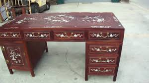 chinese red wood mother of pearl inlay pedestal writing desk table you