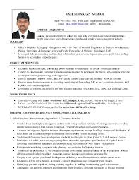 Great Career Objectives For Resumes Classy Resume R Niranjan Kumar MBA Logistics Shipping Mgmt