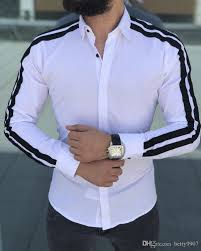 Designer Shirts For Men 2019 Designer Shirts Men Clothes Casual Slim Cool Spring Fall Fashion Striped Long Sleeve Turn Down Collar Business Ol Top From Qisui006 30 34