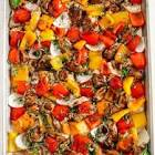 balsamic chicken with red  orange and yellow peppers