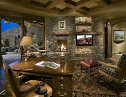 rustic office. View In Gallery Stone Wall With Fireplace And TV Becomes The Showstopper This Home Office Design Rustic C