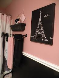 Paris Themed Bedroom Curtains Black And Pink Paris Bathroom Shower Curtain And Accessories From