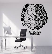 wall decal for office. Vinyl Wall Decal Brain Teamwork Gear Creative Office Decor Stickers Unique Gift (1317ig) For I