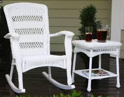 Plantation Coastal White Wicker Outdoor Rocking Chair