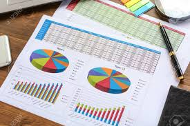 Financial Printed Paper Charts Graphs And Diagrams Science