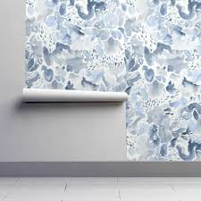 l and stick removable wallpaper watercolor modern fl blue and white