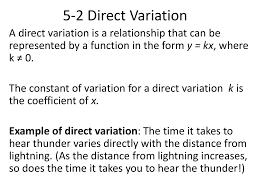 direct variation form 5 2 direct variation