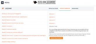 Formation Shaw Academy : Photographie - Avis
