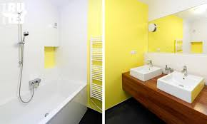 Interior Modern Picture Of Small Yellow And White Bathroom - Yellow and white bathroom