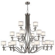kichler lacey 18 light chandelier multi tier in antique pewter
