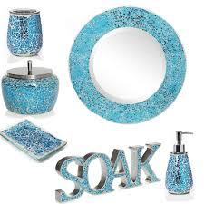 India Ink Aurora Pastel Cracked Glass Bath Accessory Ensemble Aqua Colored Bathroom Accessories