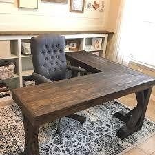 diy l shaped farmhouse wood desk office makeover hometalk within diy inspirations 1