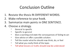 conclusion outline conclusion outline <ul><li>restate the thesis in different words <