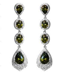curtain magnificent cubic zirconia chandelier earrings 8 1 chloey bridal 12 carat olive green long dangle