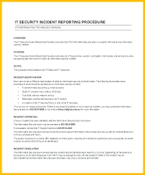 Information Technology Incident Report Template Security