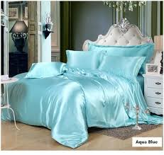 silk aqua bedding set green blue satin california king size queen light blue bedding