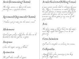 harry potter spells free printable