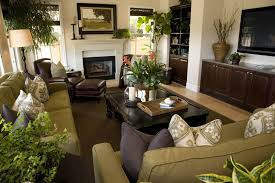 Stylish Green And Brown Living Room Regarding Living Room