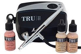 amazon tru airbrush cosmetics mineral makeup system basic kit light um skin tone 5 piece makeup kit tru kitbslgmd beauty