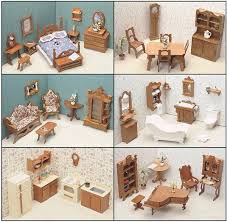miniature dollhouse furniture woodworking.  miniature miniature dollhouse furniture doll house kits wooden 1 inch scale set 6  rooms in woodworking g