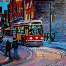 south at king streetcar oil on wood panel