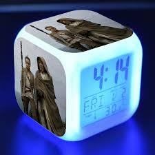 Star Wars The Last Jedi 7 Color Glowing Change Kids Alarm Clock ...