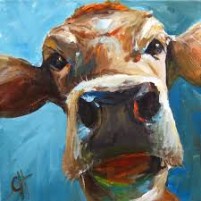 items similar to cow painting elise the cow fine art paper print by cari humphry on