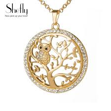whole small owl necklace tree of life pendant rose gold women sweater chain crystal long necklaces pendants statement jewelry bijoux heart shaped