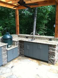 Outdoor Kitchen Sinks Outdoor Kitchen Bar With Granite And Sink Top Plus Big Green Egg
