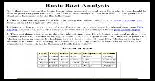 Basic Bazi Analysis A Print Out Of Your Bazi Chart By