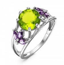 <b>Серебряное кольцо</b> с фианитом <b>салатового</b> цвета - 541 Кольцо ...