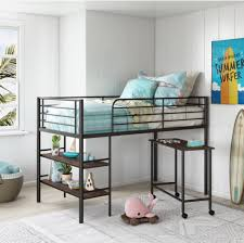 kids teen youth twin loft bed with desk