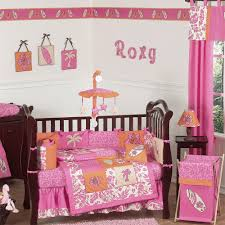 summer theme baby bedding with hot orange and pink set