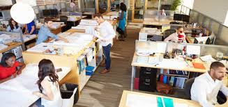 interior of busy modern open plan office cheap office spaces