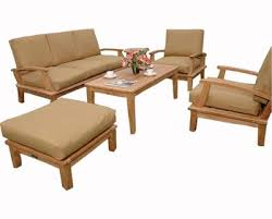 outdoor furniture teak wood sofa set designs with thick cushion
