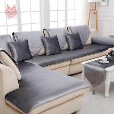 Free shipping grey camel red black velvet sofa cover flannel plush