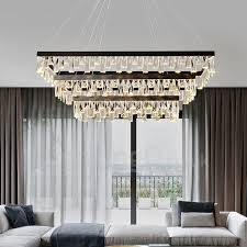 nordic living room crystal chandelier rectangular atmosphere led pendant lights hall bedroom restaurant postmodern lighting