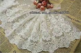23 CM,1YARD <b>DELICATE</b> white <b>embroidered</b> flower tulle lace trim ...