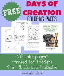 Free Days Of Creation Coloring Pages More In All You Do