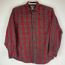 Ll Bean Size Chart Mens Details About Ll Bean Mens Scottish Plaid Flannel Shirt Red Tartan Plaid Regular Fit Large Euc