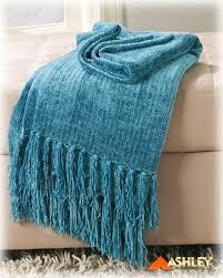 Turquoise Chenille Sofa Throw Blanket