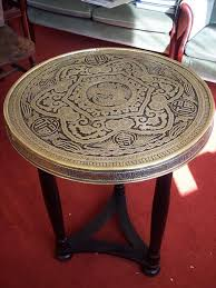 mid century oriental brass accent top table circular coffee table vintage occasional table