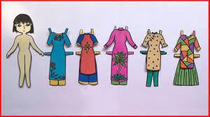 Tự làm búp bê giấy, thiết kế áo dài việt nam cho búp bê - Paper doll cra...