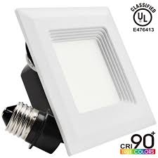9w 4 inch high cri dimmable retrofit led recessed lighting fixture square shape 60w halogen equivalent 2700k warm white ul classified recessed ceiling