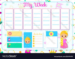 Weekly Timetable Planner Kids Timetable With Cute Princess Weekly Planner