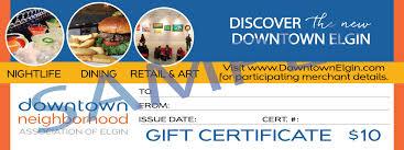 downtown elgin gift certificates