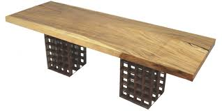 reclaimed wood and metal furniture. Rotsen Wood Top And Metal Base Dining Table. Made With A Single Slab Of Natural Tamburil Wood. In Recycled Construction Steel Rebars Weathered Reclaimed Furniture I
