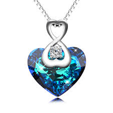 details about aoboco infinity love swarovski crystal sterling silver heart pendant necklace