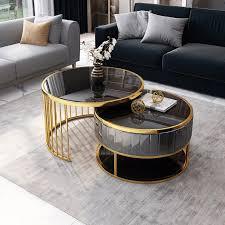 modern round gold grey nesting coffee